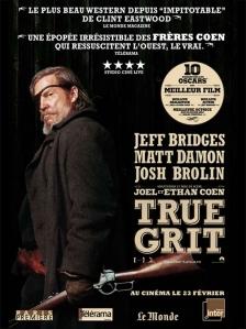 affiche true grit jeff bridges matt damon josh brolin ethan joel cohen